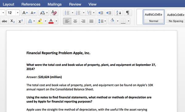 Financial Reporting Problem for Apple, Inc