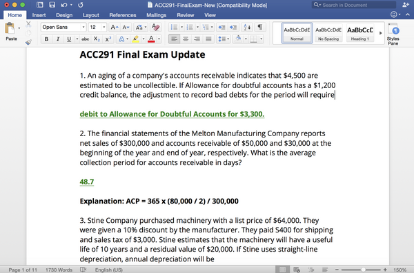 Use this study guide for the ACC 291 final exam