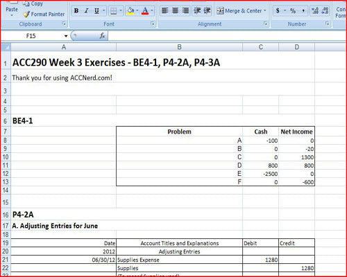 ACC 290 Week 3 Exercises: BE4-1, P4-2A, P4-3A