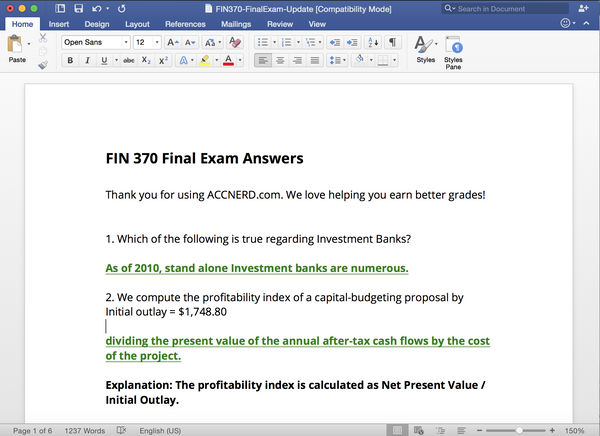 Updated solution sets for the 2016 final exam in FIN 370