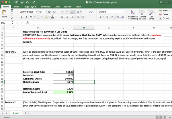 comprehensive study guide for FIN 370 in excel
