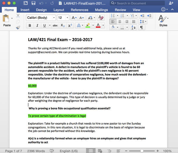 Comprehensive study guide for 2017 law 421 final