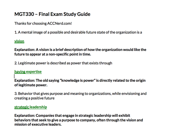 MGT 330 Final Exam Answer Guide