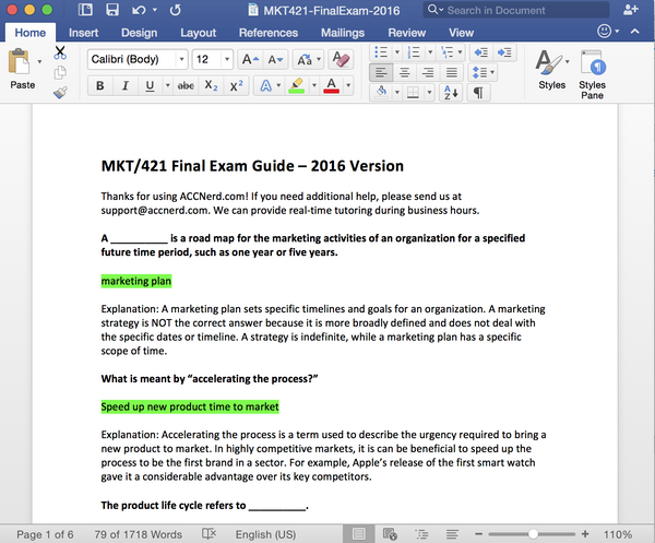 MKT 421 Final Exam Answers 2016