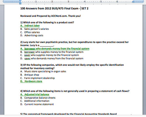 A picture of the first page of answers on the BUS 475 final exam answers guide