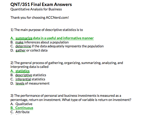 A preview of the first 3 answers on the QNT 351 final exam.