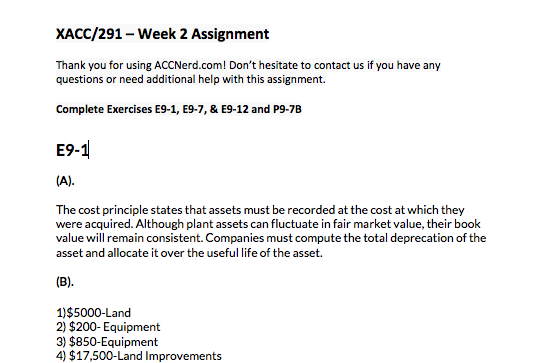 Screenshot of xacc 291 week 2 solutions
