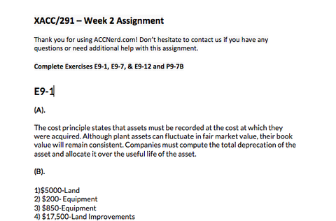 xacc 291 exercises and problems week Find exercise example essays, research papers, term papers, case studies or  , 3 and 4 acc 291 week 3 individual exercise e 10-6, e 10-8, e 10-18,problem.