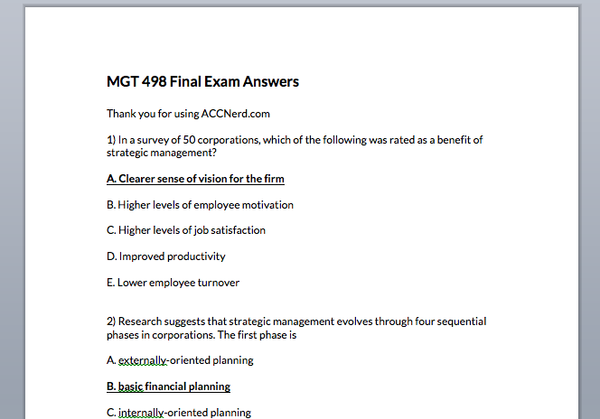 MGT 498 Entire Course Answers