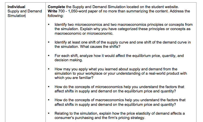 eco365 supply and demand simulation paper Supply and demand in reflection of this lesson, the team focuses on the simple fact, supply is how much of an item there is, and demand is how many people.