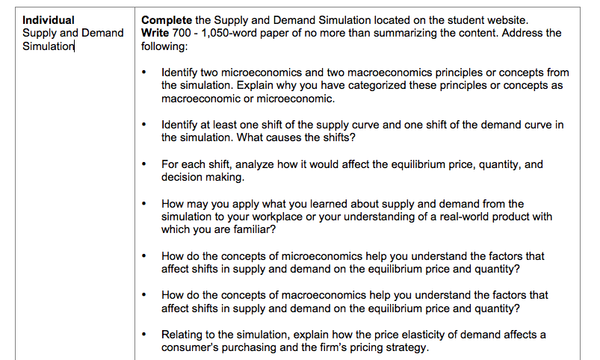 ECO 365 Week 2 - Supply and Demand Simulation Answers