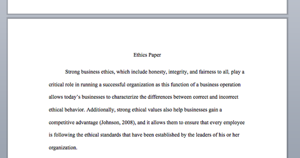 A preview of the MGT 498 Ethics paper in week 2.