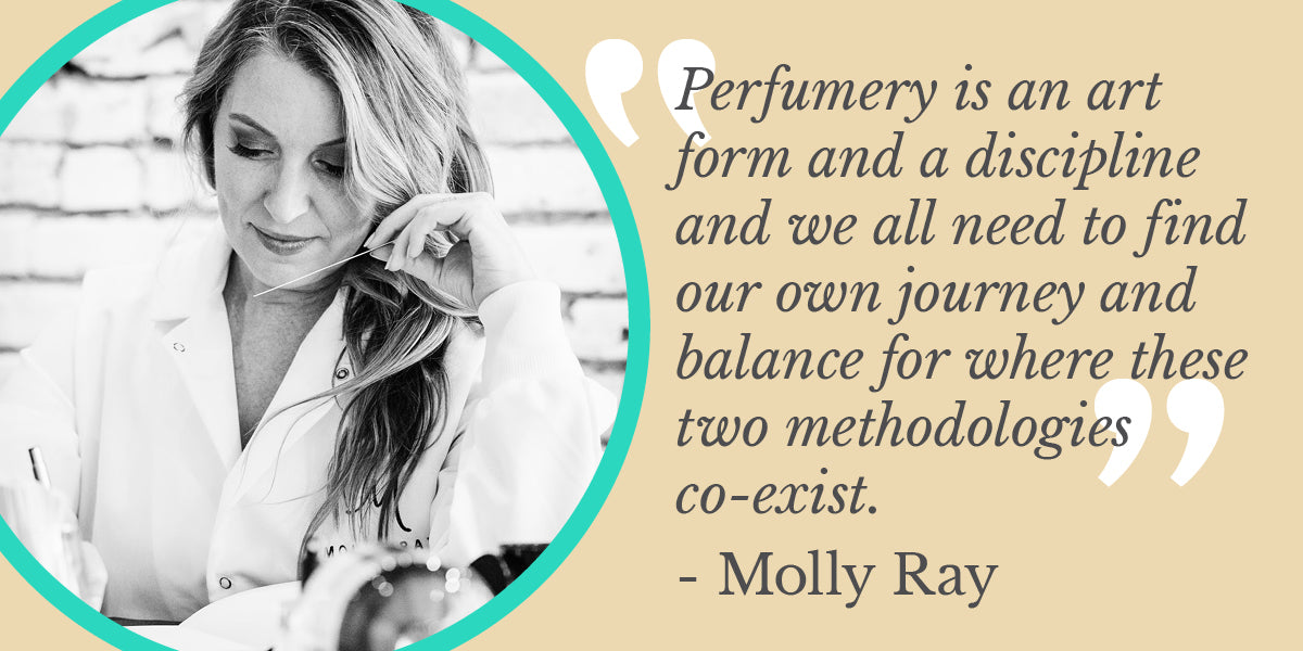 """Quote from Molly Ray reading """"Perfumery is an art and a discipline, and we all need to find our own journey and balance for where these two methodologies co-exist."""""""