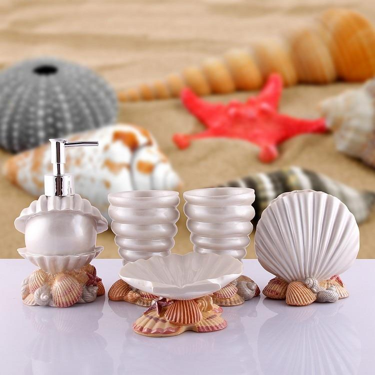 Seashell Scrubbed Bathroom Accessories Set