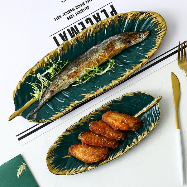 Green Leaf Serving Plates