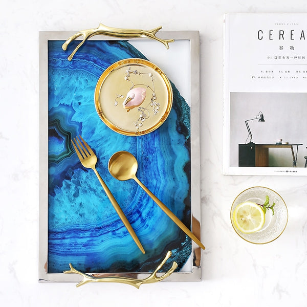 Aqua Blue Kitchen Serving Tray