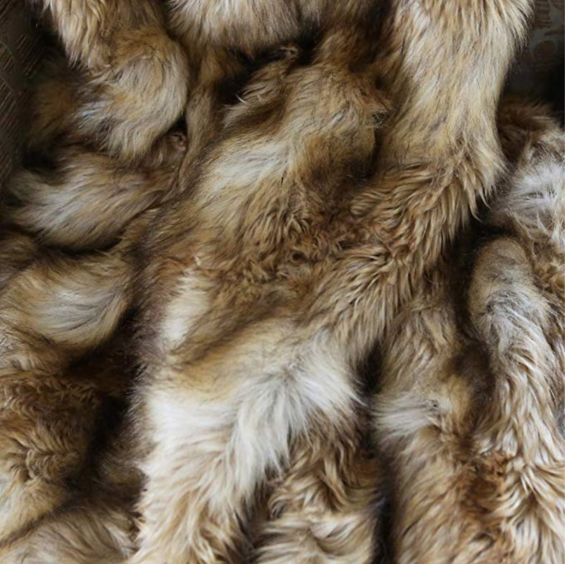Platinum Frost Fox Faux-Fur Blanket Throw