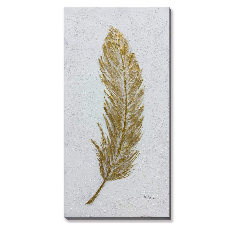 Golden Goose's Feather Oil Painting