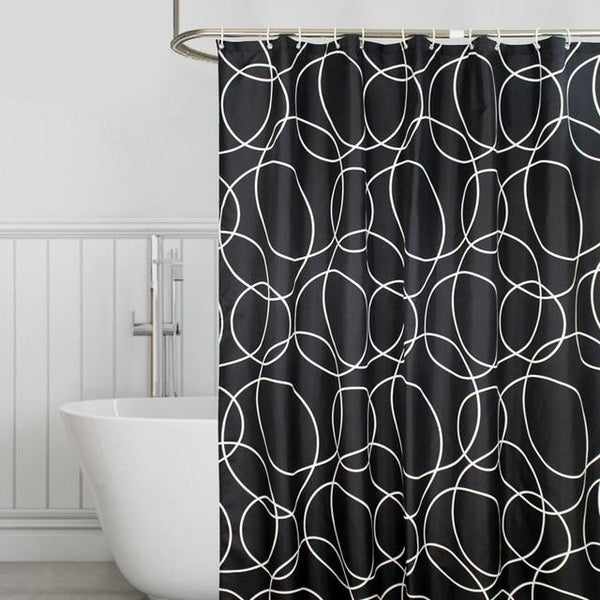 Black Steel Shower Curtain