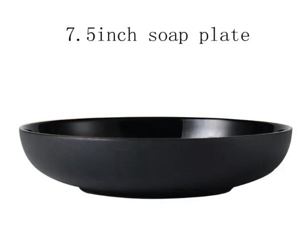 Gold-Edge Matte Black Ceramic Plate