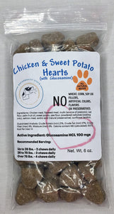 Chicken and Sweet Potato with Glucosamine Hearts Dog Treats
