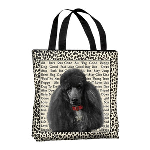 Black Poodle Canvas Tote Bag