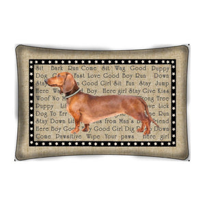 Dachshund with Words Throw Pillow