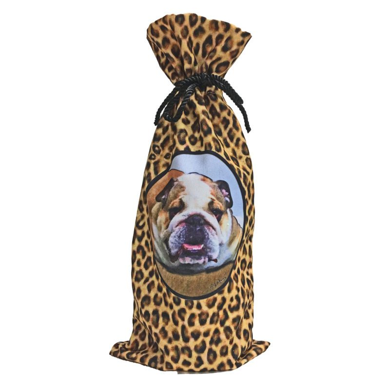 English Bulldog Canvas Wine Bottle Bag