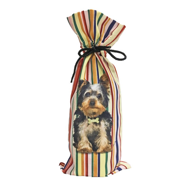 Yorkie Canvas Wine Bottle Bag