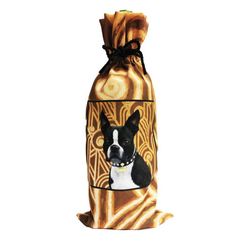 Boston Terrier Canvas Wine Bottle Bag