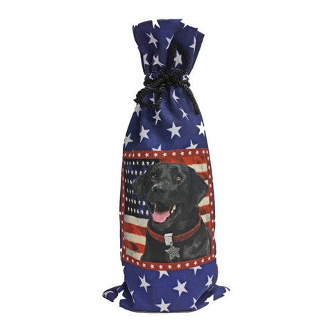 Black Lab Canvas Wine Bottle Bag
