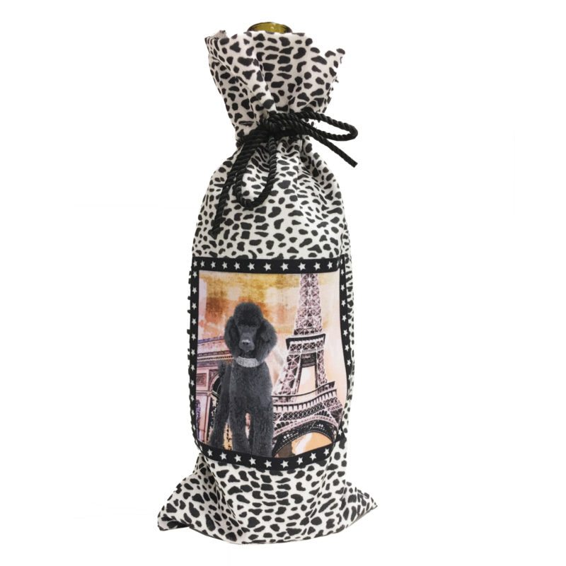 Black Poodle Canvas Wine Bottle Bag