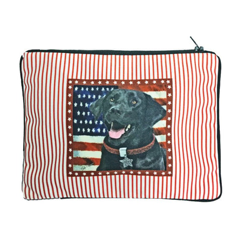 Black Lab Fully Lined Dog Zipper Bag