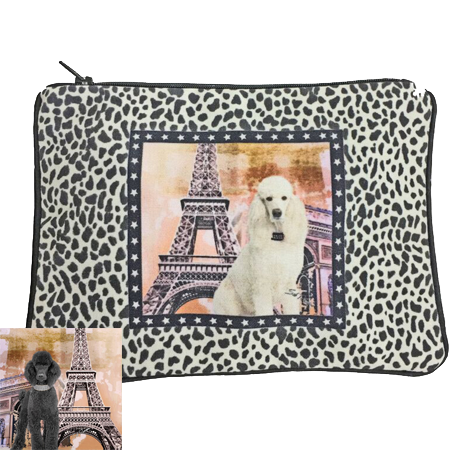 White & Black Poodle Fully Lined Zipper Bag