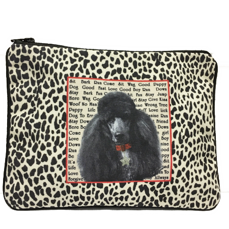 Black Poodle Fully Lined Zipper Bag