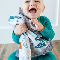 Baby Boy Snuggling his Adventure Awaits Personalized Gray Lovey Blanket