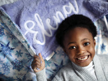 Load image into Gallery viewer, Icy Snow Dreams Minky Blanket with Personalized Name