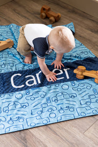 Blue Truck and Cars Personalized Baby Boy Blanket