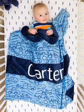 Load image into Gallery viewer, Blue Truck and Cars Personalized Baby Boy Blanket