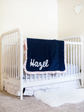 Load image into Gallery viewer, Navy Floral Minky Blanket with Blush Satin Ruffle and Name