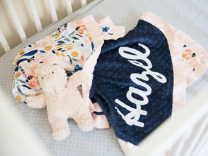 Navy Floral Minky Blanket with Blush Satin Ruffle and Name