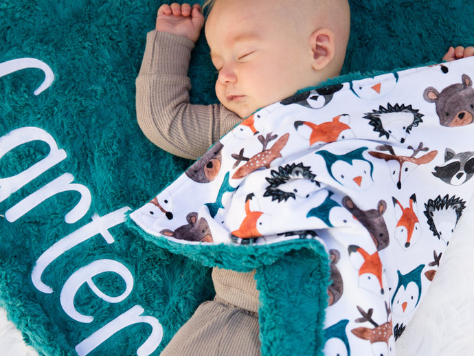 Woodland Animals Baby Blanket with Personalized Name and Teal Fur Minky