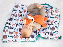 Load image into Gallery viewer, Woodland Animals Baby Blanket with Personalized Name and Teal Fur Minky
