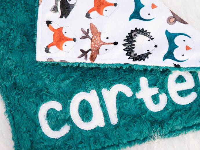 Personalized Small Woodland Animals Lovey Blanket