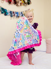 Load image into Gallery viewer, Positive Affirmations Pink Personalized Blanket with Satin Ruffle