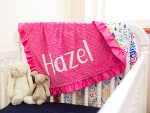 Positive Affirmations Pink Personalized Blanket with Satin Ruffle