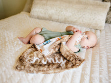 Load image into Gallery viewer, Personalized Rainbow Baby Lovey Blanket with Brown Fawn Minky Fur