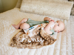 Personalized Rainbow Baby Lovey Blanket with Brown Fawn Minky Fur