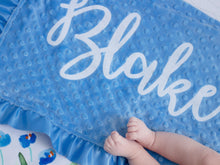 Load image into Gallery viewer, Blue Floral Personalized Minky Blanket with Satin Ruffle