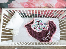 Load image into Gallery viewer, Maroon Floral Baby Blanket with Pink Satin Ruffle